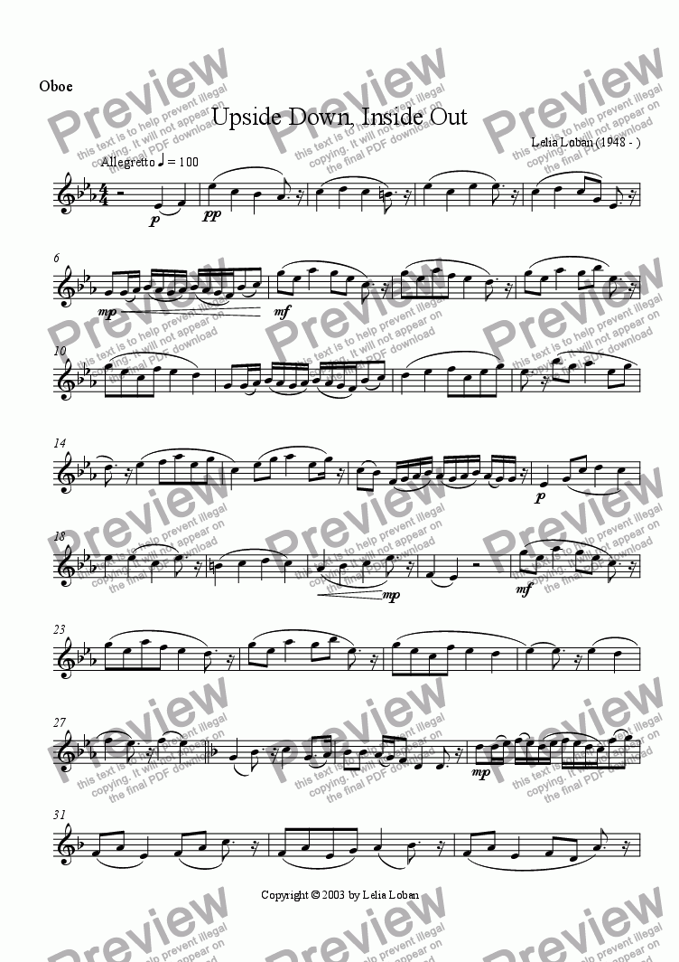 page one of the Oboe part from Upside Down, Inside Out (wind quintet)