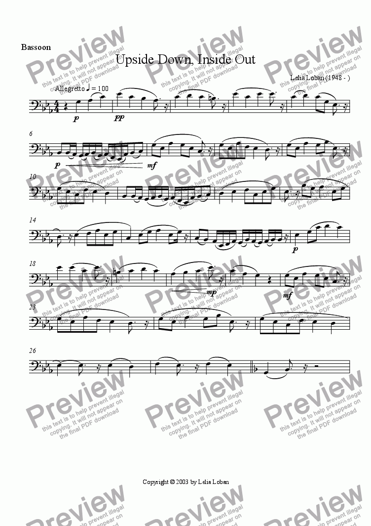 page one of the Bassoon part from Upside Down, Inside Out (wind quintet)