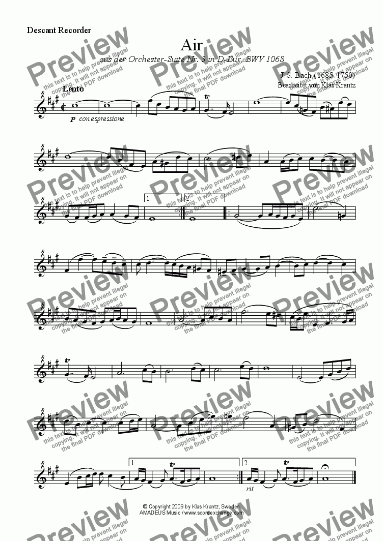page one of the descant recorder part from Air (on the G string) for descant recorder and guitar