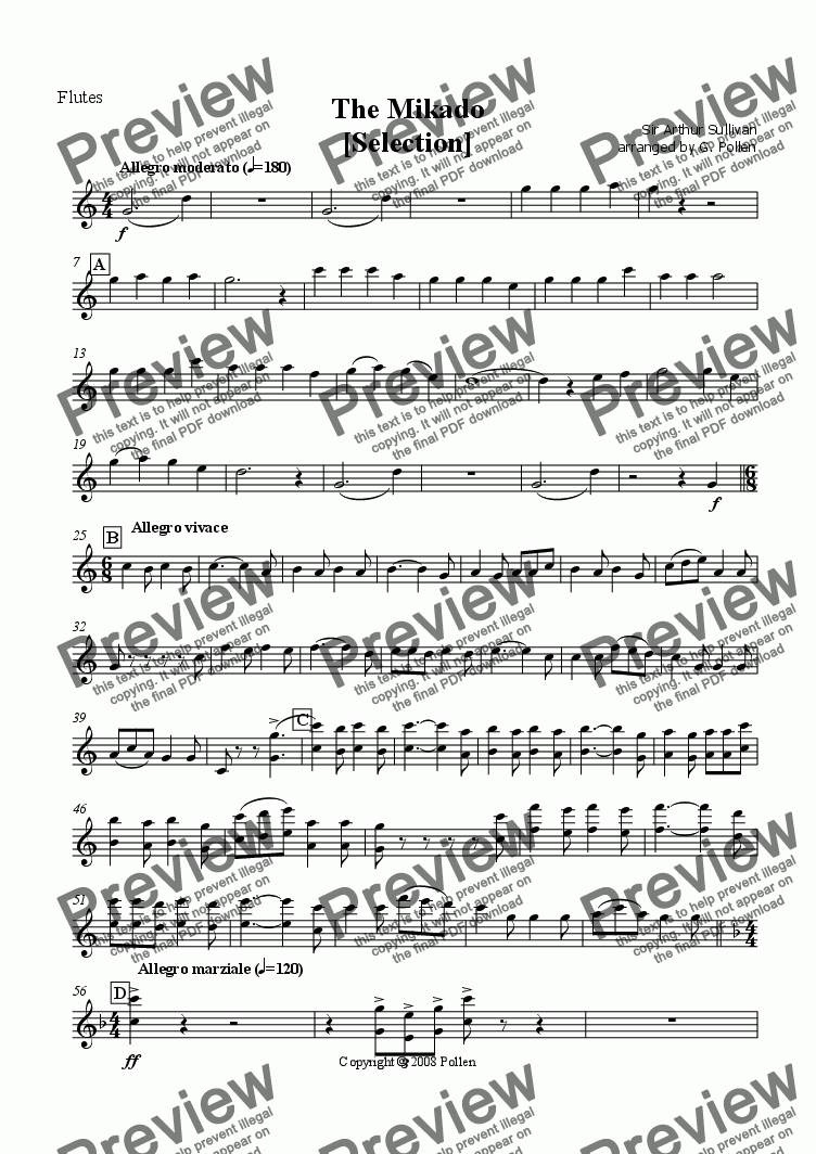 page one of the Flutes part from Selection: The Mikado (CB)