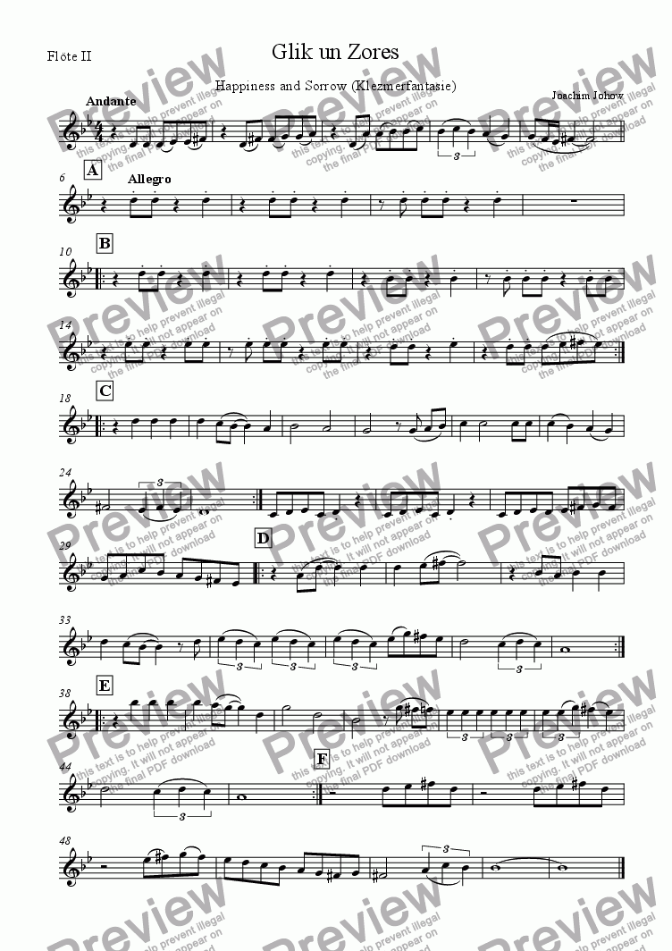 page one of the Fl2 part from Klezmer Orchestra 02 (Glik un Zores)