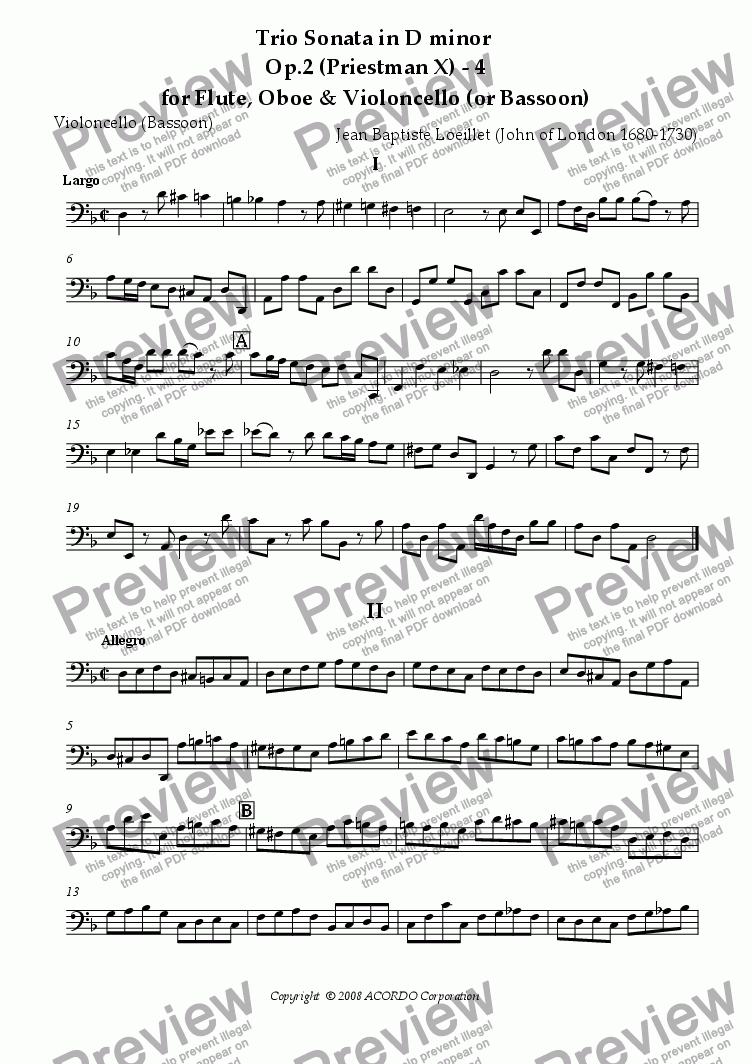 page one of the Violoncello (or Bassoon) part from Trio Sonata in D minor  Op.2 (Priestman X) - 4 for Flute, Oboe & Violoncello (or Bassoon)
