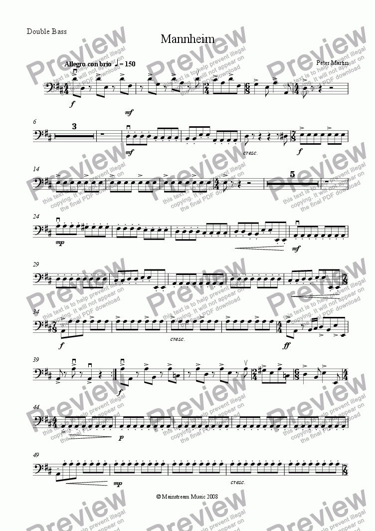 page one of the Bass part from Mannheim