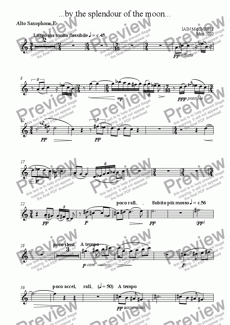 page one of the Alto Saxophone part from ...by the splendour of the moon...