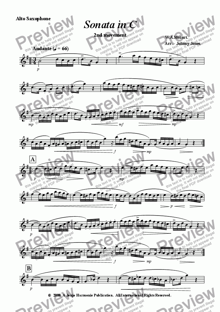 page one of the Alto Saxophone part from Piano Sonata in C   2nd Movt..  Andante  Alto Sax