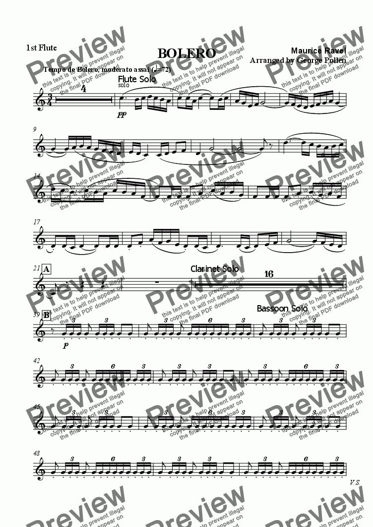 page one of the 1st Flute part from Bolero