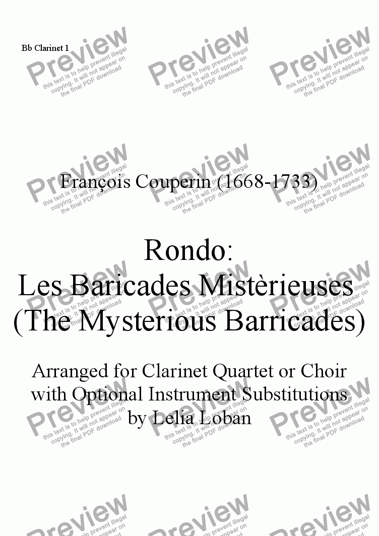 page one of the Bb Clarinet 1 part from The Mysterious Barricades (F. Couperin arranged for clarinet quartet/choir)