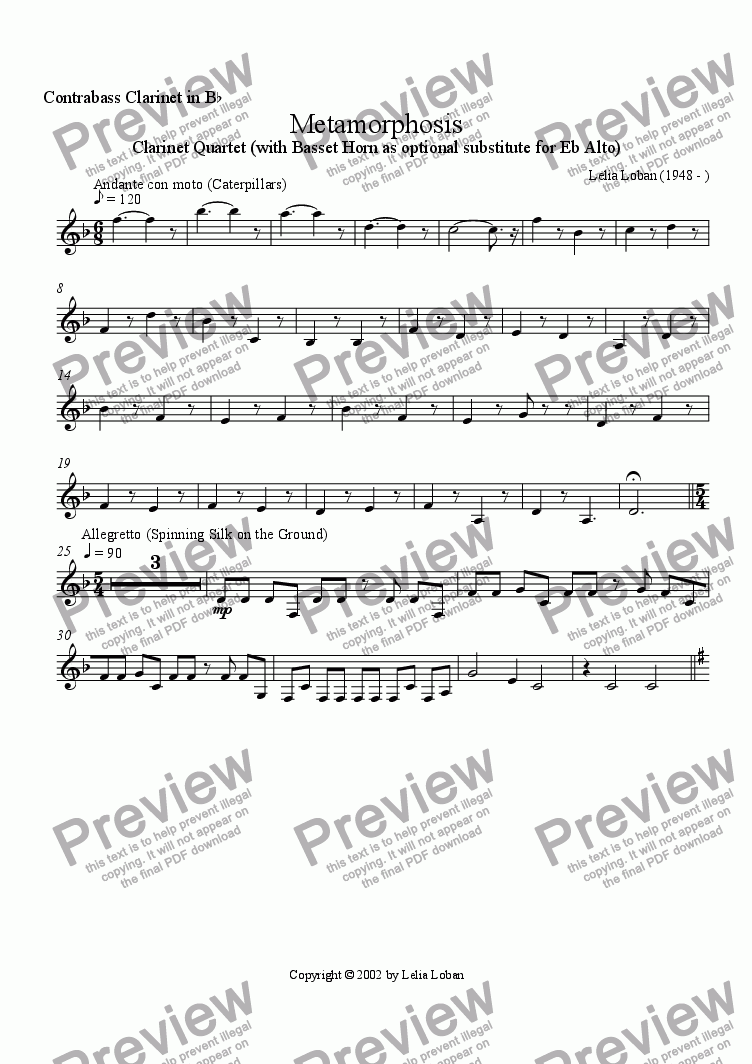 page one of the Bb Contrabass Clarinet part from Metamorphosis 1: Luna Moths (clarinet quintet)