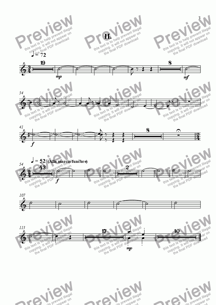 page one of the flute 5,6 part from Concert for piano and four instrumental groups 2-nd movement