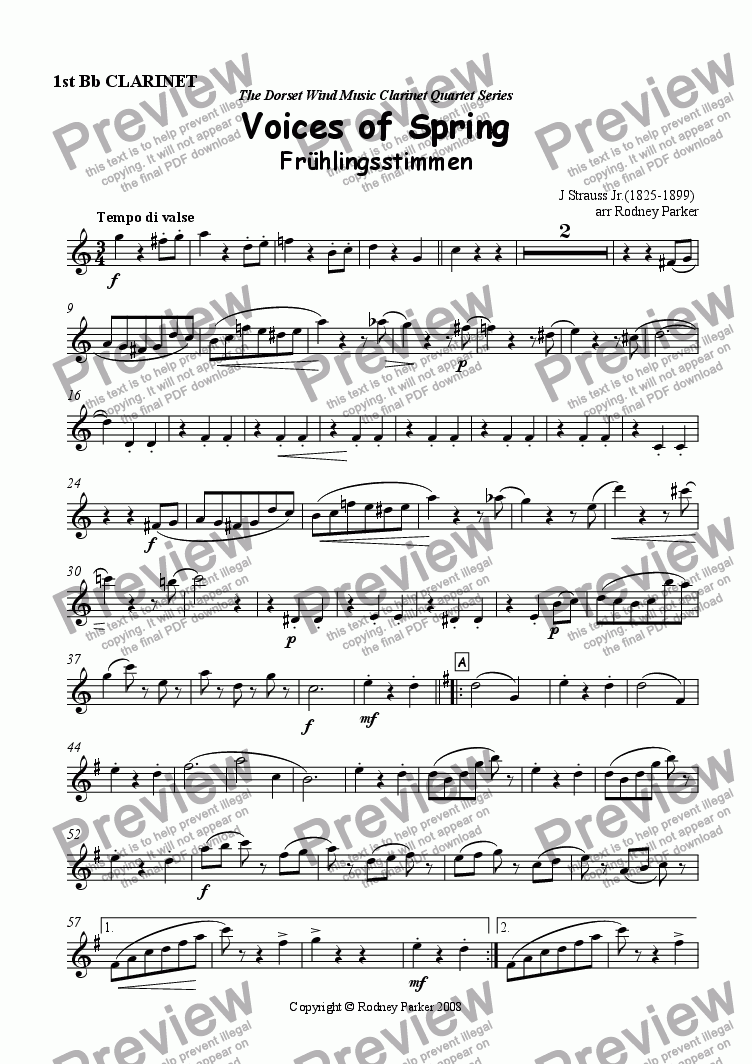 page one of the 1st Bb Clarinet part from Voices of Spring arr. for Clarinet Quartet