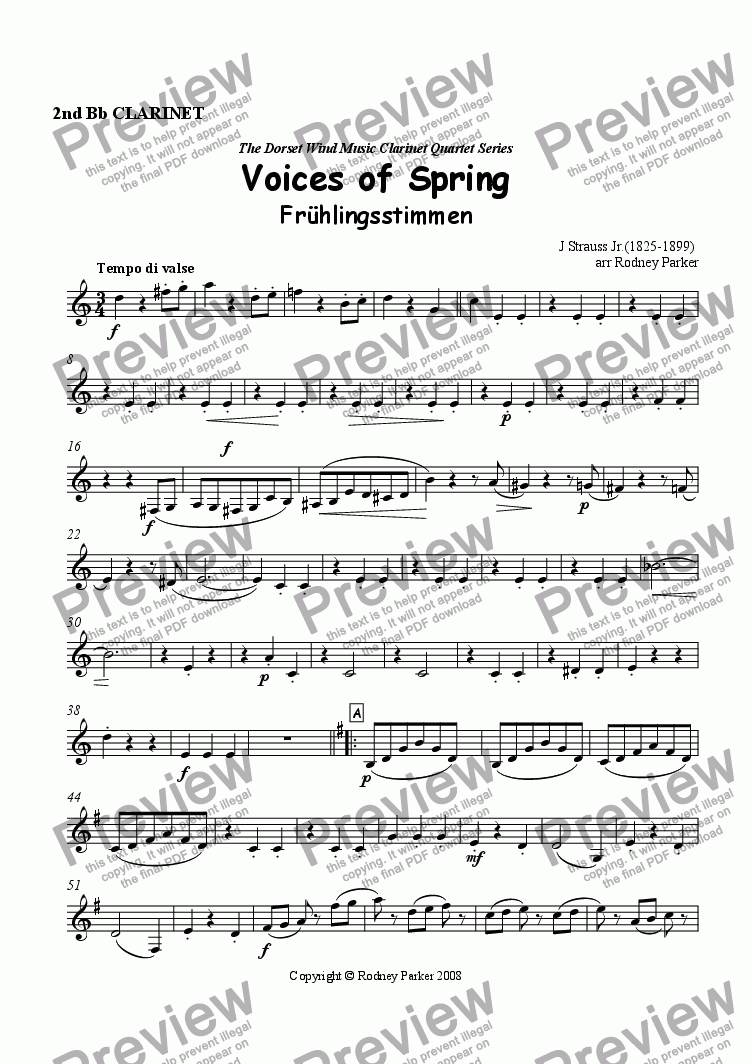 page one of the 2nd Bb Clarinet part from Voices of Spring arr. for Clarinet Quartet