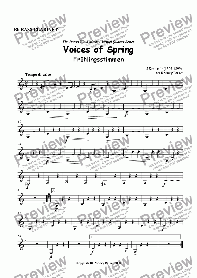 page one of the Bass Clarinet part from Voices of Spring arr. for Clarinet Quartet