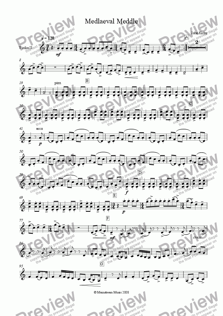 page one of the Violin II part from Mediaeval Meddle