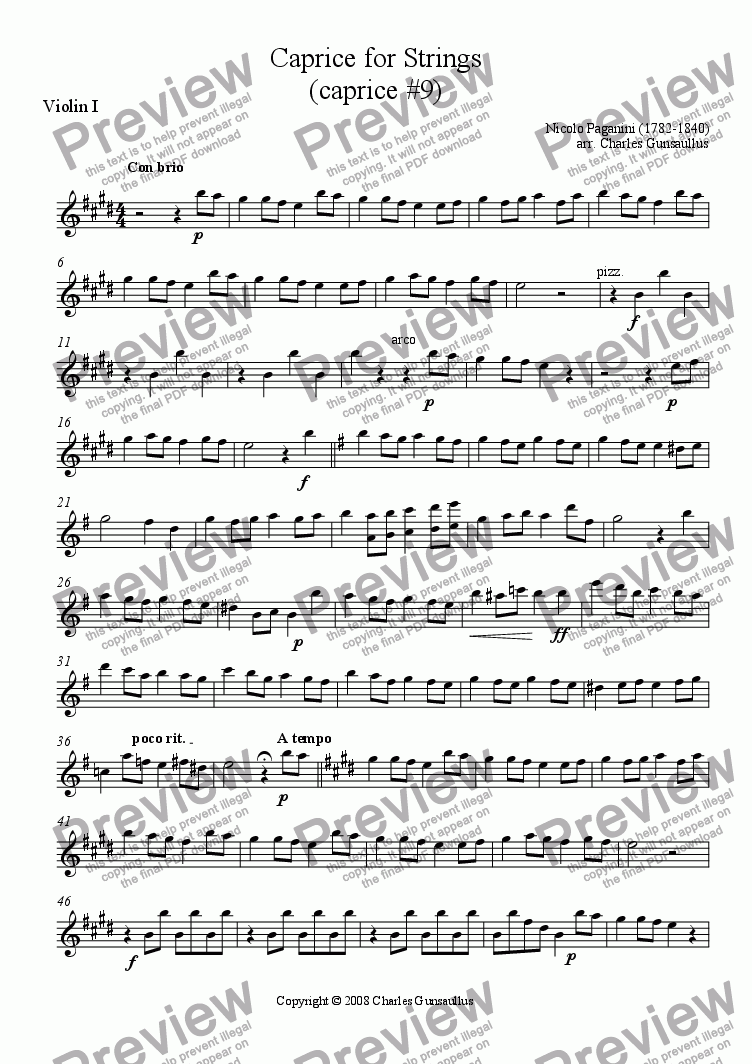 page one of the Violin 1 part from Caprice for Strings (caprice #9)