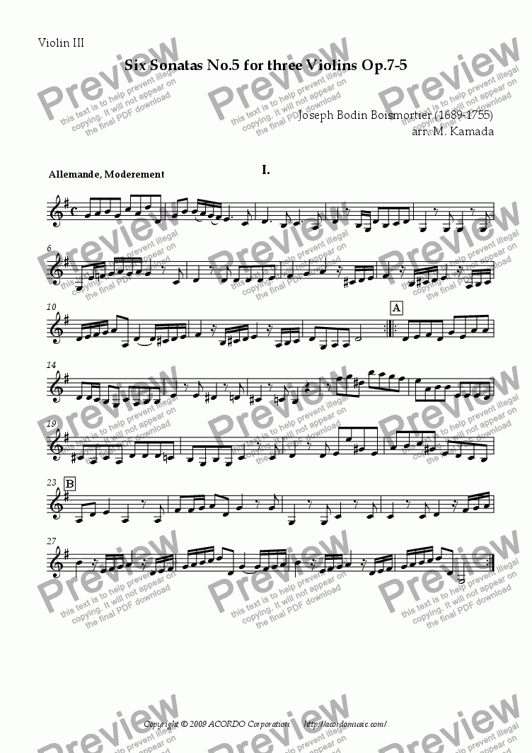 page one of the Violin III part from Six Sonatas No.5 for Three Violins Op.7-5