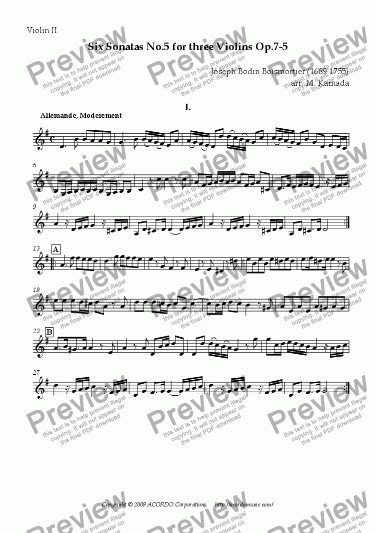 page one of the Violin II part from Six Sonatas No.5 for Three Violins Op.7-5