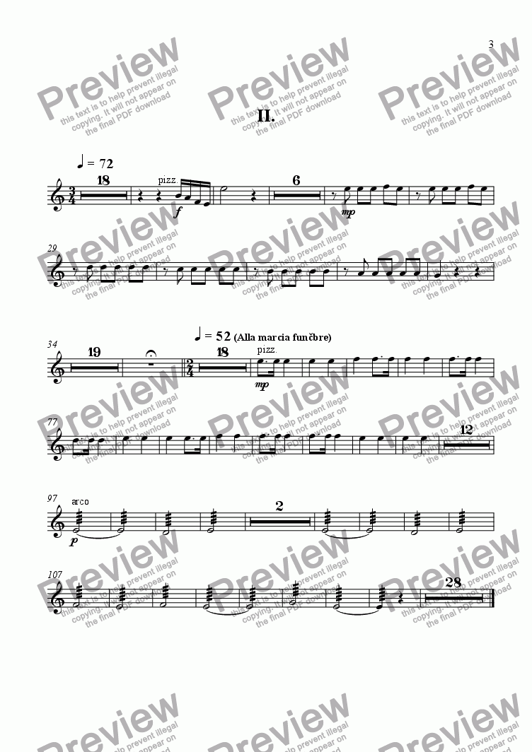 page one of the violin 5,6 part from Concert for piano and four instrumental groups 2-nd movement