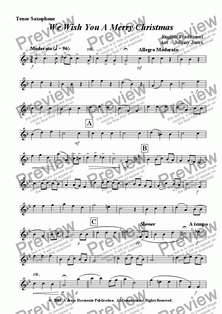 page one of the Tenor Saxophone part from We Wish You A Merry Christmas   (Saxophone Quartet)