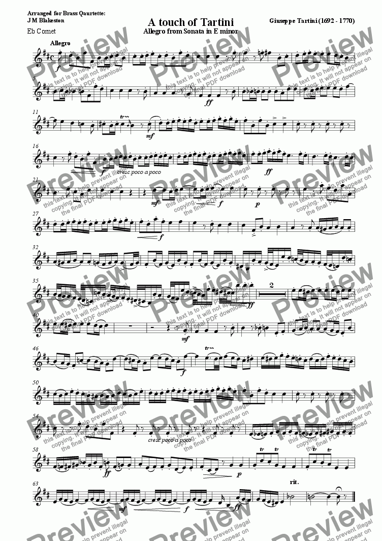 page one of the Eb Soprano Cornet part from A touch of Tartini