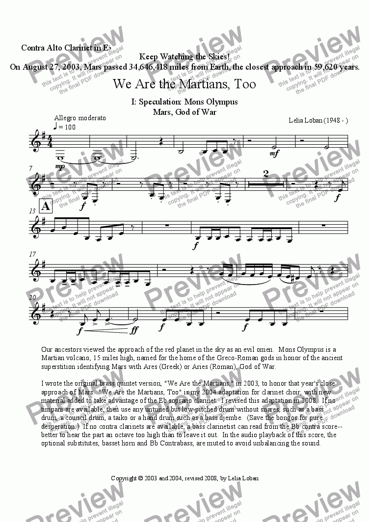 page one of the Contra Alto Clarinet in Eb part from We Are the Martians, Too (clarinet choir)