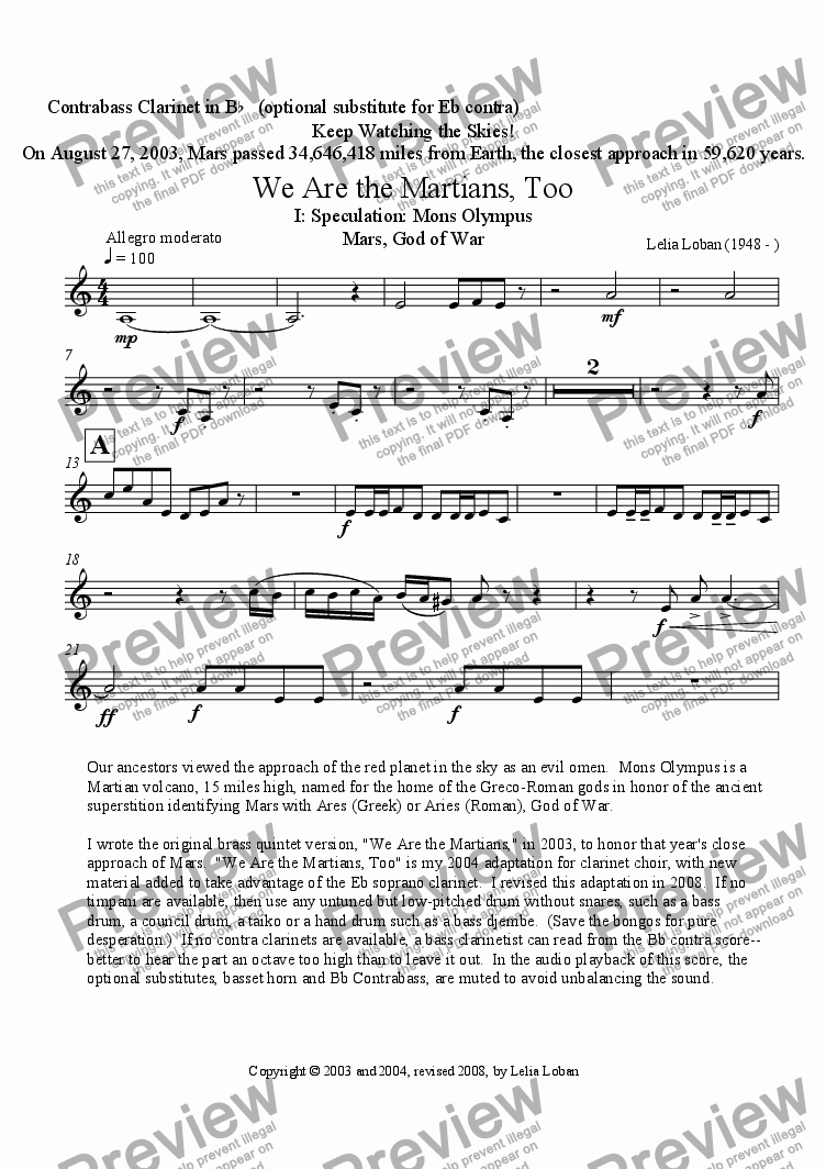 page one of the Contrabass Clarinet in Bb part from We Are the Martians, Too (clarinet choir)