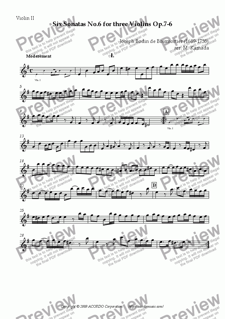 page one of the Violin II part from Six Sonatas No.6 for Three Violins Op.7-6