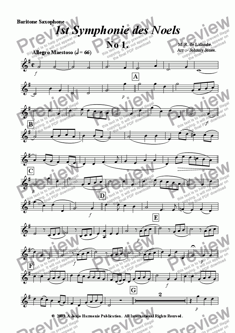 page one of the Baritone Saxophone part from 1st Symphonie des Noels   (Saxophone Quartet, Christmas Festival)