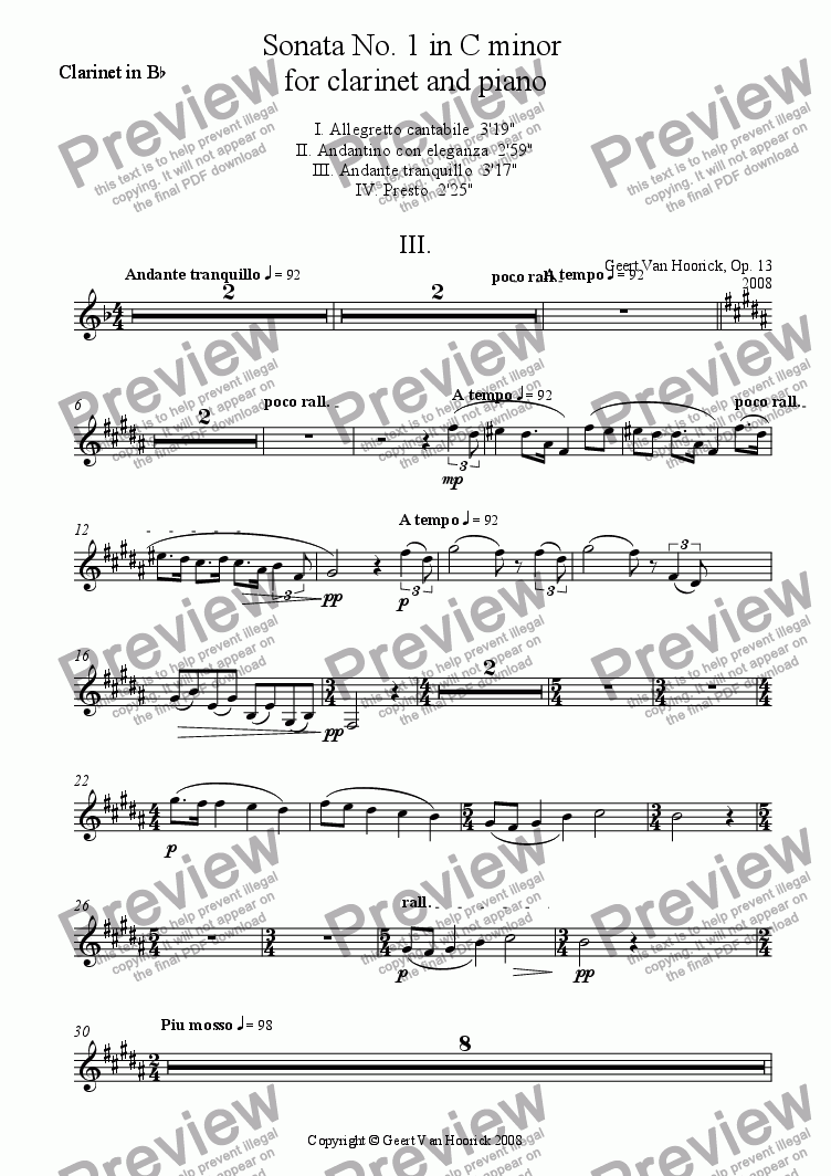page one of the clarinet part from Sonata No. 1 in C minor for clarinet and piano - III Andante tranquillo