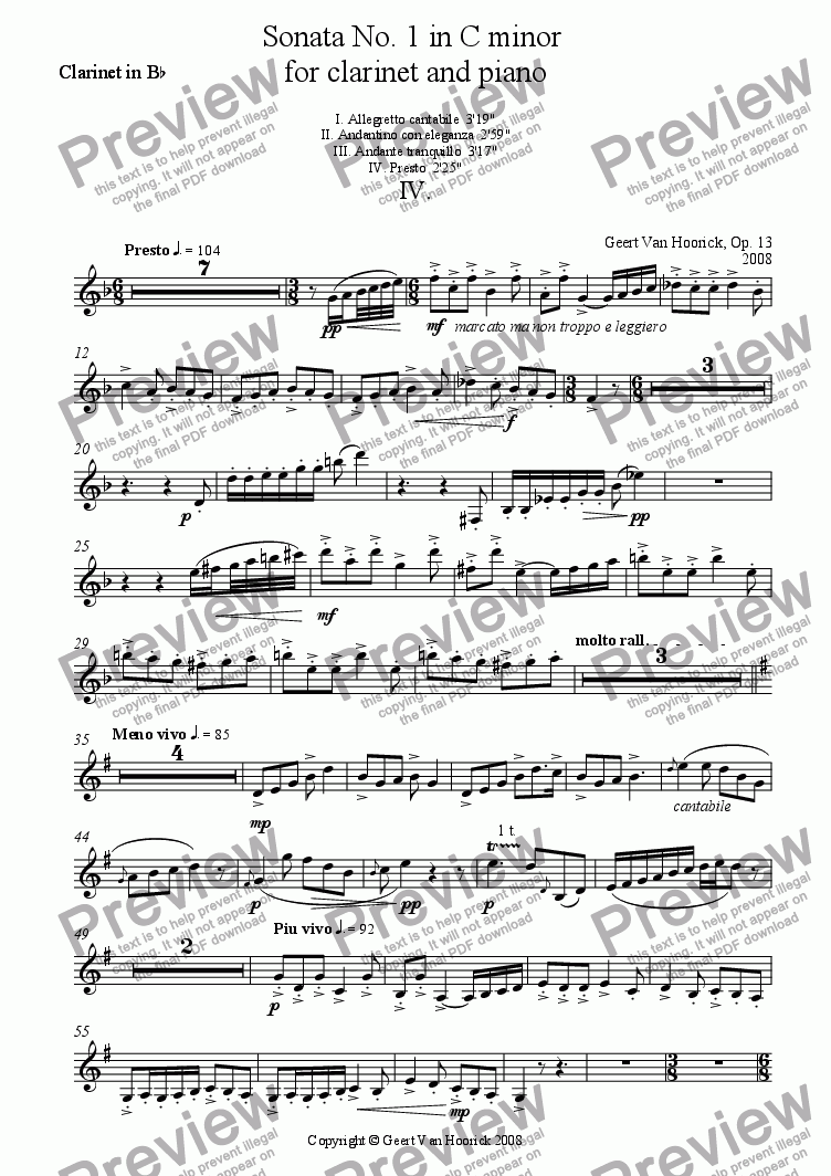 page one of the clarinet part from Sonata No. 1 in C minor for clarinet and piano - IV Presto