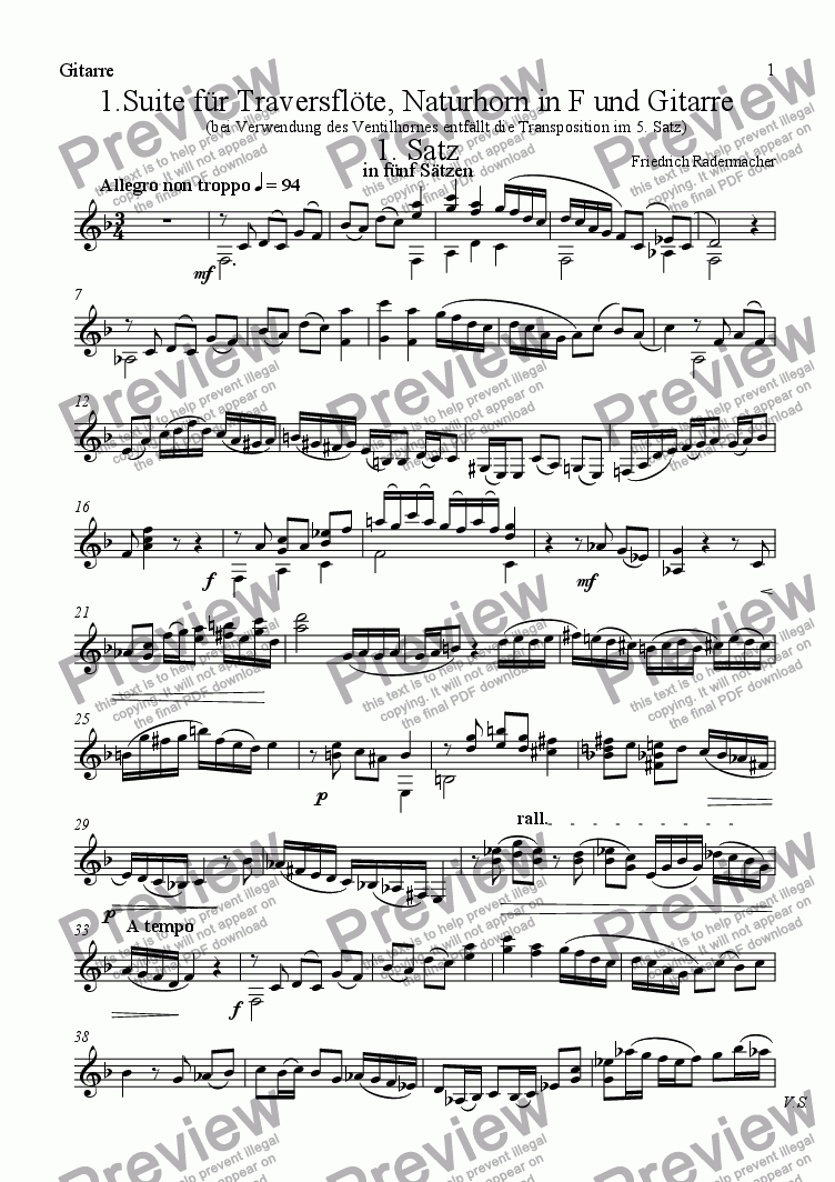 page one of the Gitarre part from 1. Trio fuer Floete, Horn und Gitarre