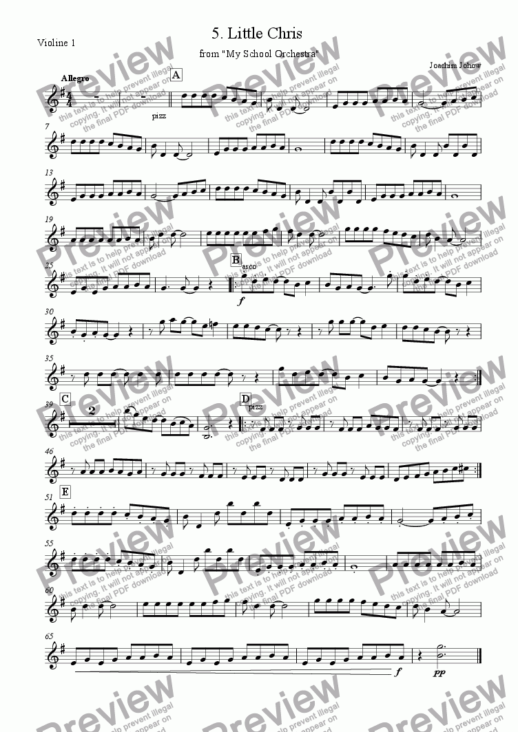 page one of the 1. Vl part from My School Orchestra (05 Little Chris - Easy Strings)