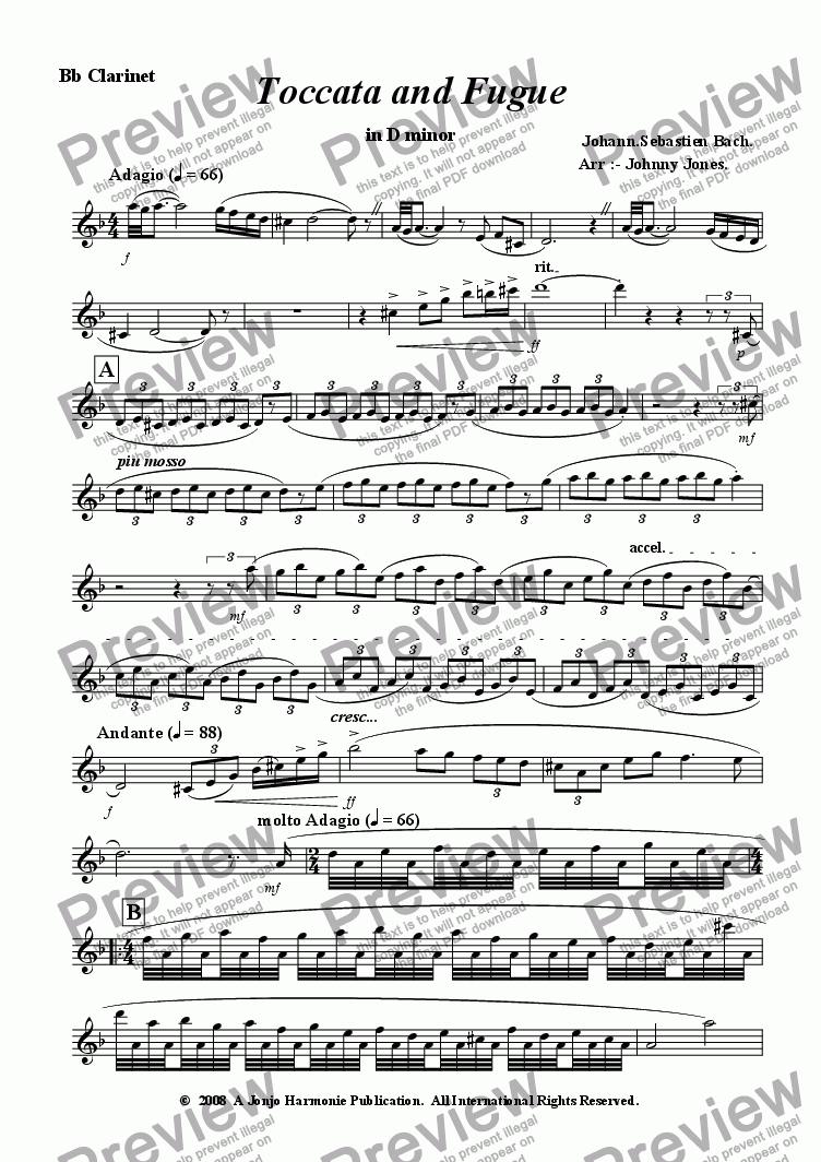 page one of the Bb Clarinet part from Toccata and Fugue   (Bb Clarinet and Piano)