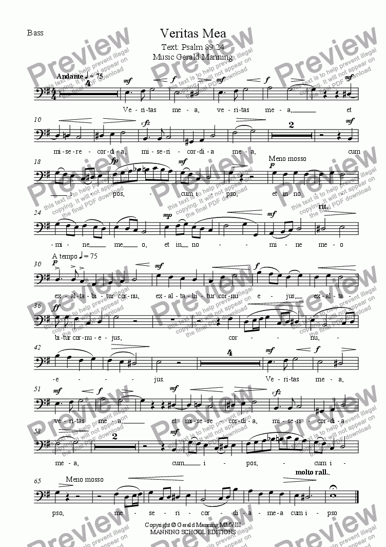page one of the Bass part from Anthems For All Occasions -  Veritas Mea, Op.22 - Manning, Gerald - A setting of Psalm 89:24  for Parish Choir & Organ