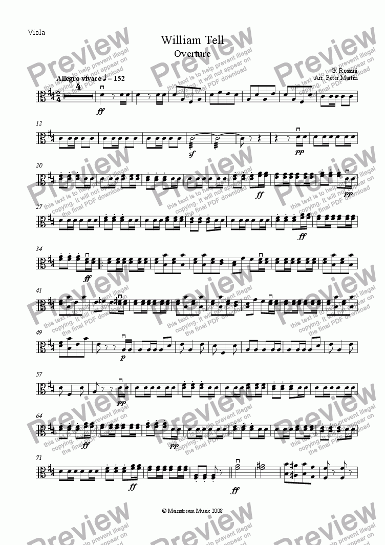 page one of the Viola part from William Tell Overture - String Orchestra