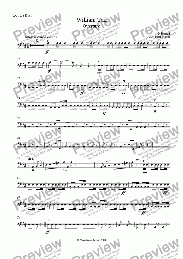 page one of the Bass part from William Tell Overture - String Orchestra