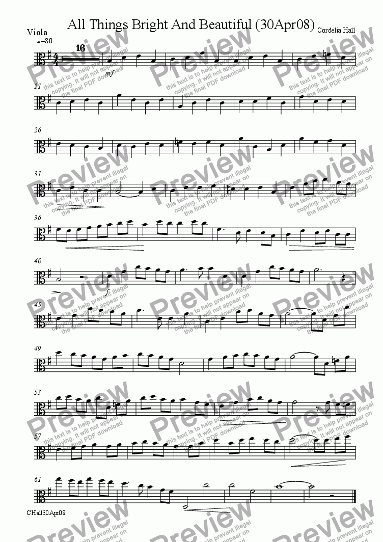 page one of the Viola part from All Things Bright And Beautiful (30Apr2008)