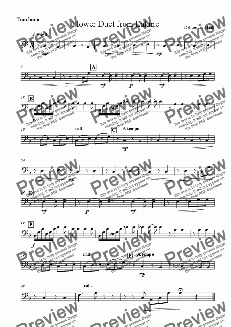 page one of the Trombone part from Flower Duet from Lakme