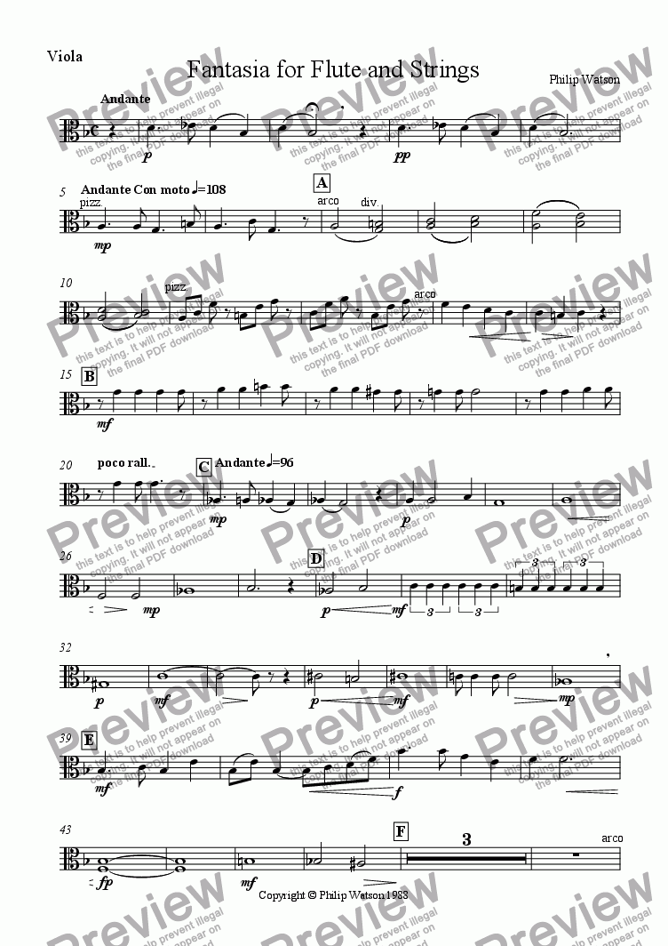 page one of the Viola part from Fantasia for Flute and Strings