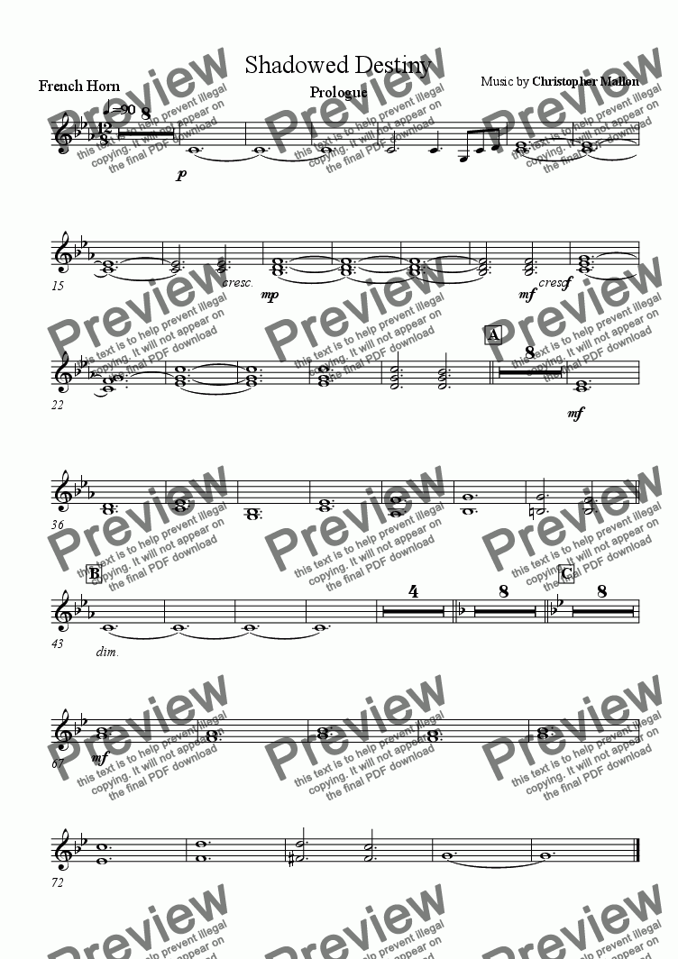 page one of the French Horn part from Prologue