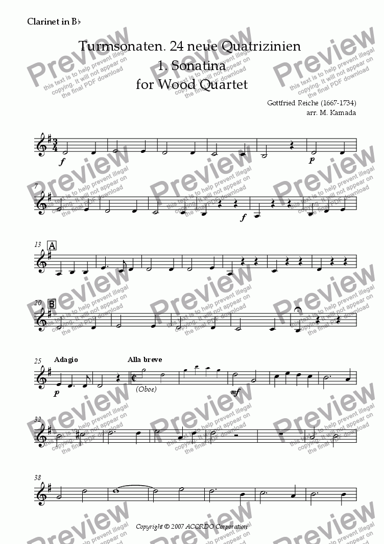 page one of the Clarinet in Bb part from Turmsonaten. 24 neue Quatrizinien 1. Sonatina for Wood Quartet