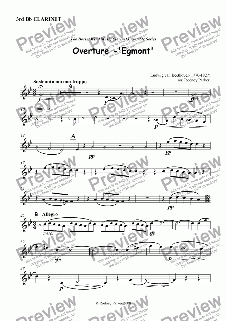 page one of the 3rd Bb Clarinet part from Overture to 'Egmont' L van Beethoven arr for Clarinet Choir