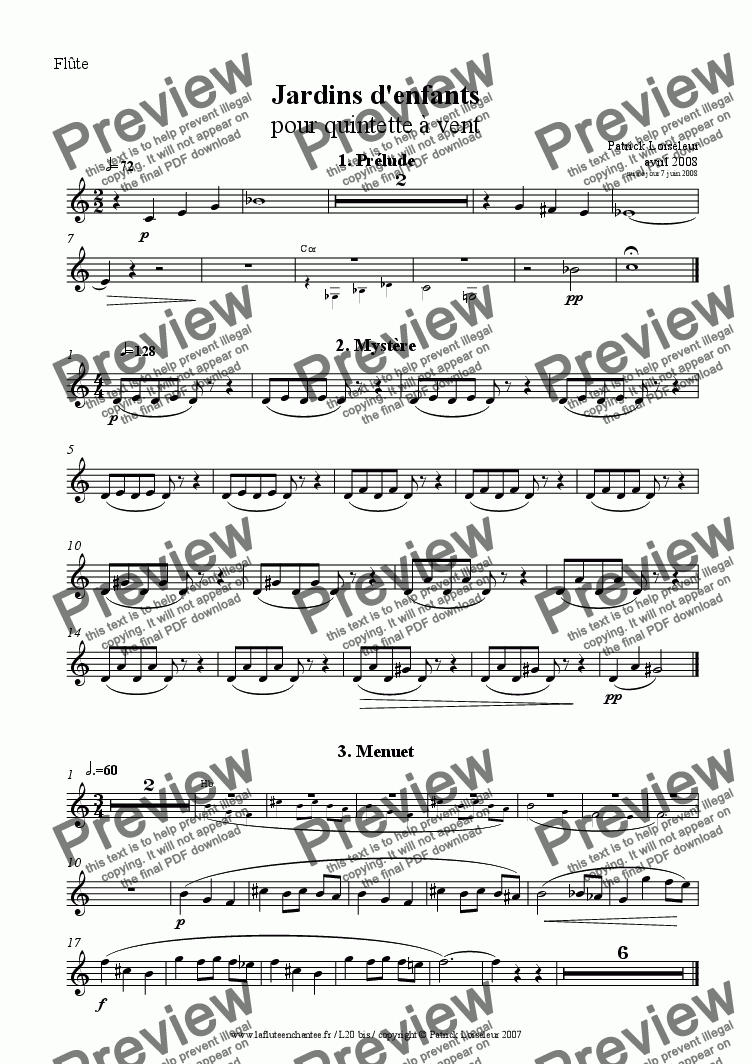 page one of the Flute part from Jardin d'enfants: seven short pieces for wind quintet