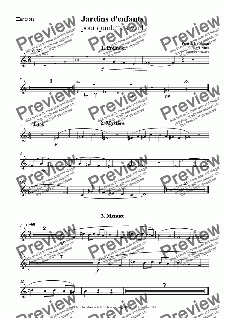 page one of the Oboe part from Jardin d'enfants: seven short pieces for wind quintet