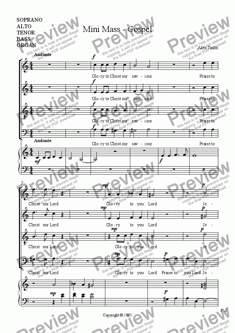 page one of the Choir and organ part from Mini Mass - Gospel