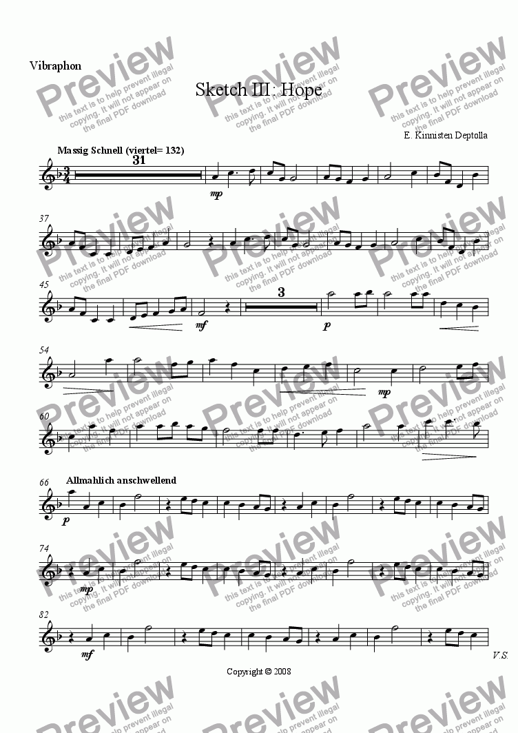 page one of the Vibraphon part from Sketches of Life: Sketch III- Hope