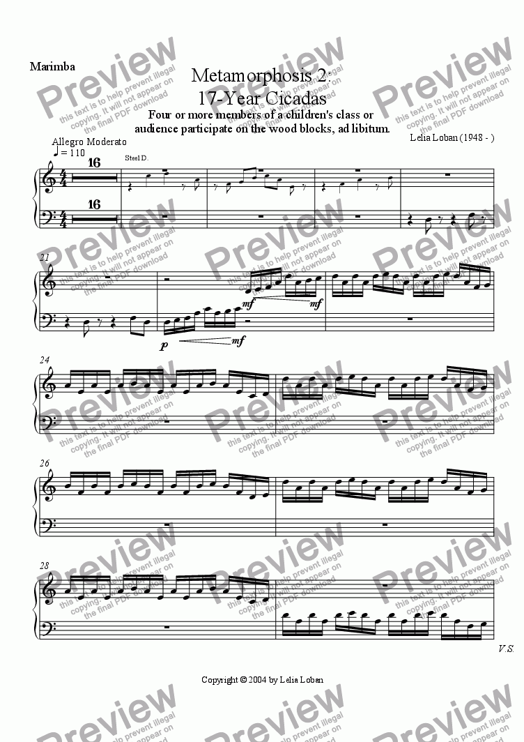 page one of the Marimba part from Metamorphosis 2: 17-Year Cicadas (violin, marimba, steel drums, children with wood blocks)