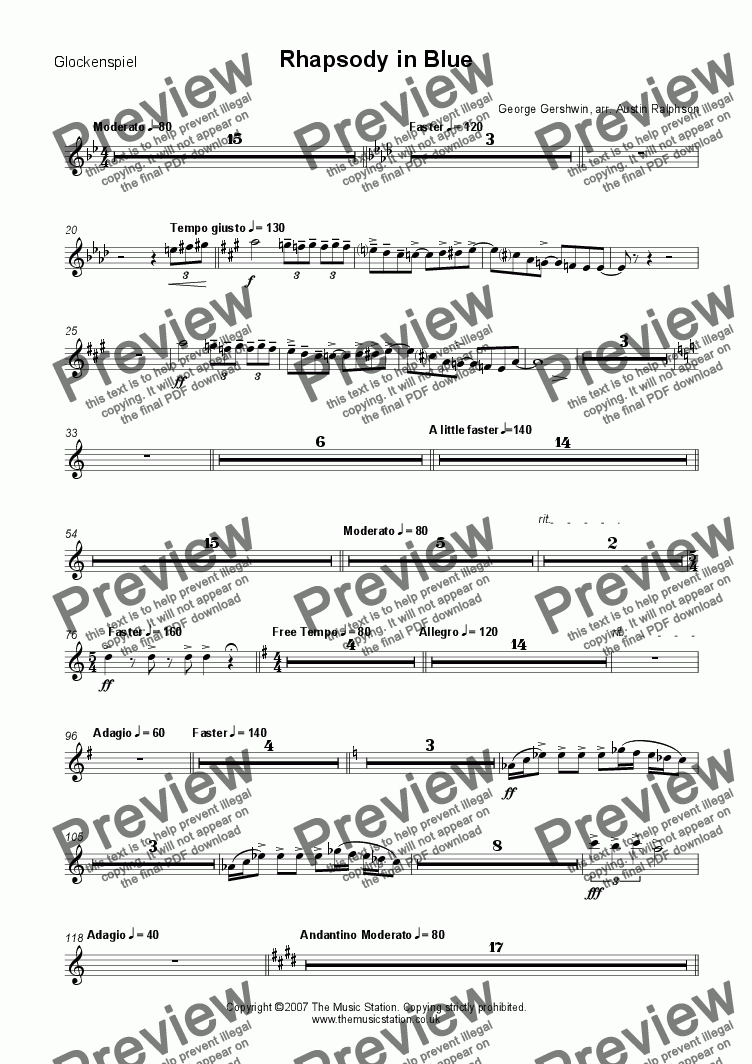 page one of the Glockenspiel part from Rhapsody in Blue - brass ensemble