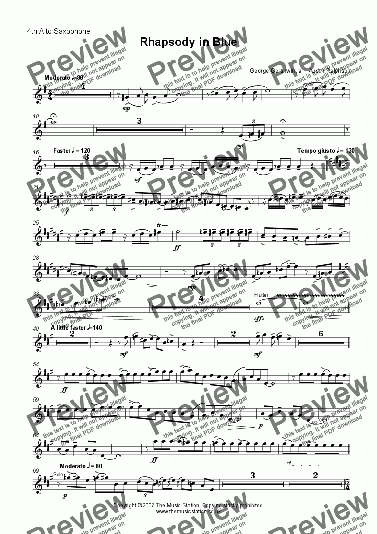 page one of the Alto 4 part from Rhapsody in Blue - sax ensemble