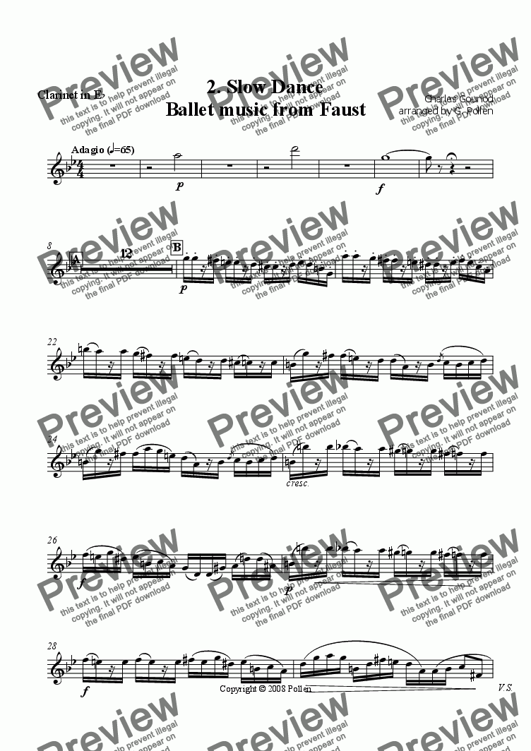 page one of the Clarinet in E flat part from Faust Ballet Music: 2. Slow Dance (CB)