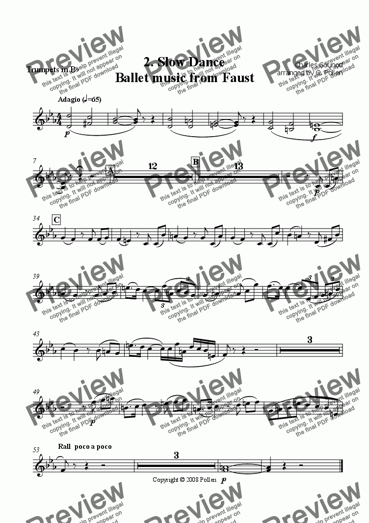 page one of the Trumpets in B flat part from Faust Ballet Music: 2. Slow Dance (CB)